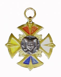 1269 Metallorden als massives Kreuz, vierfarbig mit Altsilberauflage, 48mm Durchmesser...