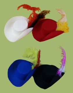 Hut aus Filz 19760 Landsknecht Hut, in schwarz, rot, blau und weiß,