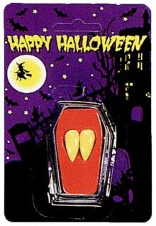 0106 1 Paar Dracula Eckzähne, ca 17mm lang, aus phtalatfreiem PVC, im Minisarg (diese Zähne werden