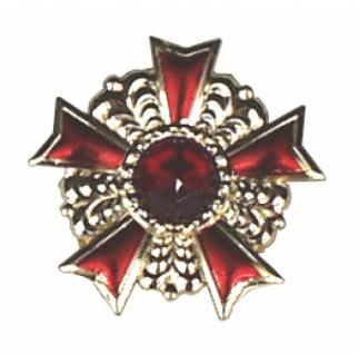1247 Eloxalorden aus Plastik, golden mit fünf rot gefärbten Strahlen und Stein in der Mitte, mit A