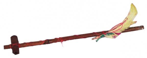 6427 Indianer Pfeife mit Federschmuck, ca. 46 cm lang...