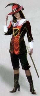6233 Musketier für Sie, Oberteil und Hose, rot lila schwarz weiß mit Goldborte