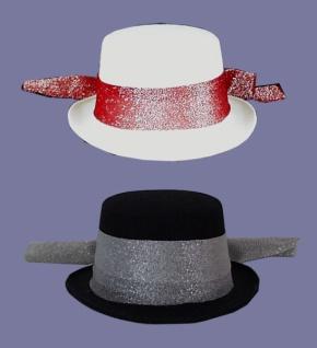 Hut aus Filz 1953 Damen Zylinder Hut, in schwarz und rot, mit breite
