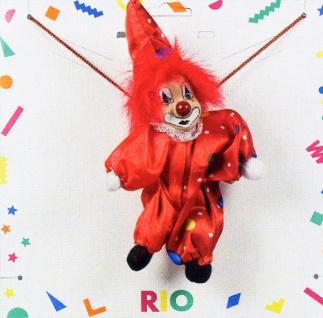 1112 Collier: 17cm großer Clown an Kordel, in rot, gelb, blau und grün...