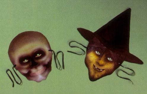 0150 Pappemasken: 2 verschiedene Horrormasken im Beutel, Viktorianische Masken mit Band&nbsp