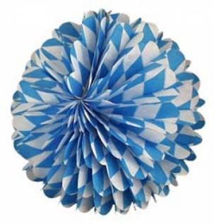 72033 Wabenball aus Papier, 28cm Durchmesser, weiß/blau rautiert, fl