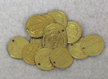 1393 Münzen aus Messing, 16mm Ø, im 100 Stück Beute