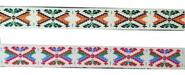 1463 bunte Indianerborte in beige mit orange und grün, 40mm breit, P