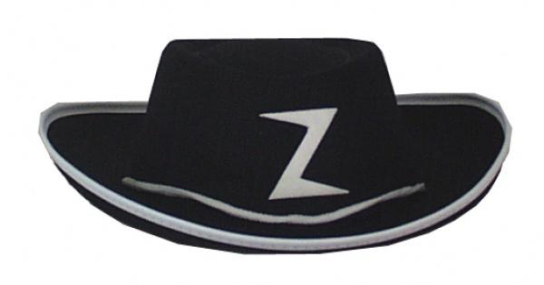 Hut aus Filz 19080 Kinder Zorro Hut, schwarz, mit Emblem, Band und K
