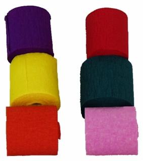 74801 Packung mit 6 Rollen einfarbige Krepp Bänder, 10m lang, 5cm br - Vorschau