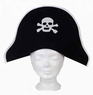 Hut aus Filz 1916 Pirat, schwarzer Filz, mit Totenkopf...