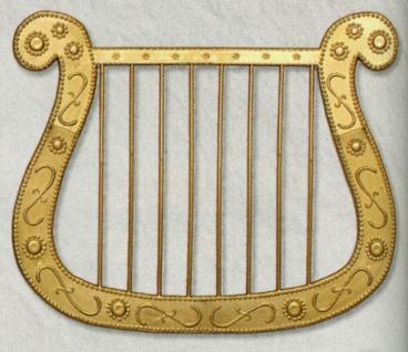 2560 Goldene Harfe aus Kunstoff, ca. 27cm breit, 20 cm hoch...