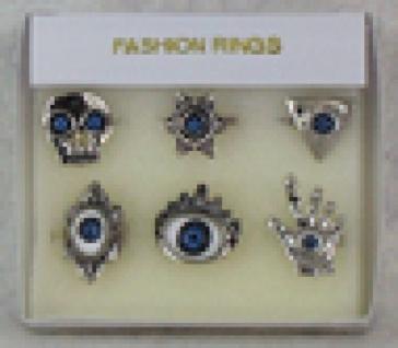 1301 1 silberfarbener Ring mit blauem Auge aus Metall, ca 25mm Durchmesser, als Totenkopf, Stein,