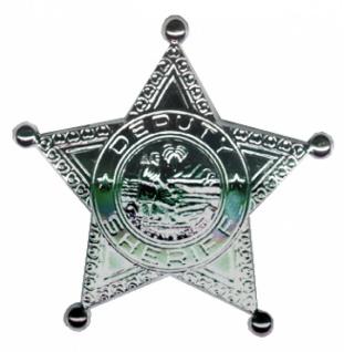 6461 silberfarbener Sheriffstern mit eingeprägtem Bild und Schrift