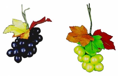 7090 Traube mit 3 gewachsten Blättern und 25 grünen oder blauen Plas