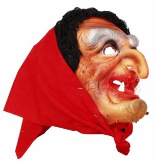 3109 Hexenmaske aus Gummi, mit Kopftuch...
