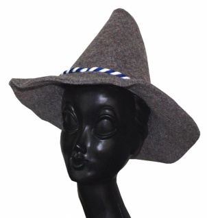 Hut aus Filz 1996 Wurzelsepp (Räuberhut), großer Hut mit buntem Band