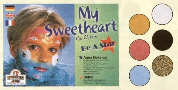 es206041 My Sweetheart Schmink Palette, mit den 3, 5ml Farben: Weiß, Schwarz, Perlglanz