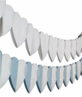 72141 Herz Girlande, ca. 4 m lang, ca. 20x20 cm stark, in weiß, blau