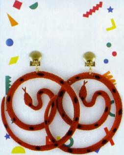 """1055 1 Paar Ohrclipse """" Schlangen"""", 7 cm Durchmesser, in schwarz, tizian, altrosa und gr"""