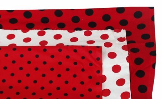 14734 Baumwollstoff, 80cm breit, in weiß mit roten Punkten (28mm &Os - Vorschau 1