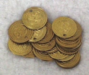 1388 Münzen aus Messing, 14mm Ø, im 26 Stück Beutel