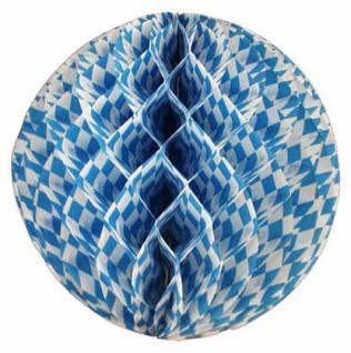 72034 Wabenball aus Papier, 60cm Durchmesser, weiß/blau rautiert, fl