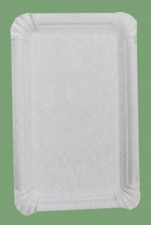 75032 25 Stück Pappteller, viereckig, flach, 1 cm hohen Rand, 20x13