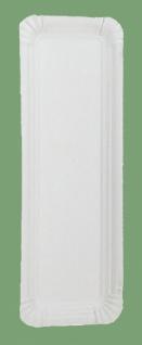 750401 250 Stück flache Pappteller, ca. 8x13cm groß, mit ca. 1cm hohem Rand, bestens für Würstchen