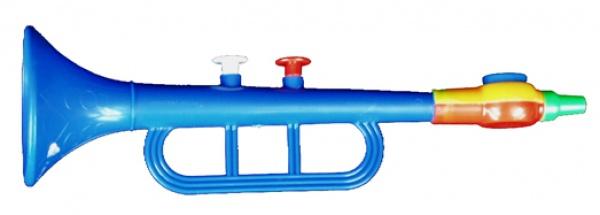 2603 Plastik Trompete mit Kazzoostimme, ca. 25 cm lang, bunt, (Kazzo