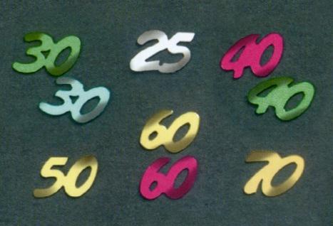 """763930 Streudekoration: die Zahl """" 30"""" in bunt, 8mm"""
