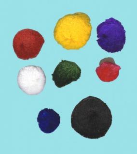 13991 Ponpons mit 6cm Ø, in schwarz, gelb, blau, pink, lila u