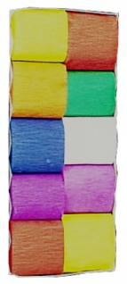 74800 Packung mit 10 Rollen einfarbige Krepp Bänder, 10m lang, 5cm b