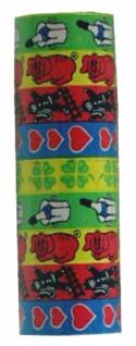 686271 9 bunte Luftschlangen mit Glückssymbolen, ca. 4 m lang, 14 mm