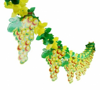 72392 Girlande, grün gelb, mit gelb orangen Trauben Anhängern, Hä
