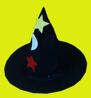 2035 Zauberer, schwarzer Filz mit Motiven...