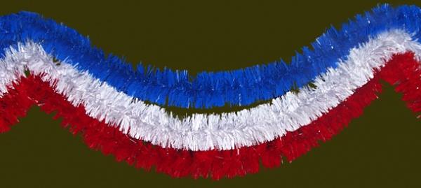 72342 Deko Girlande, in weiß, rot und blau, 10cm Ø, 3 m Stück