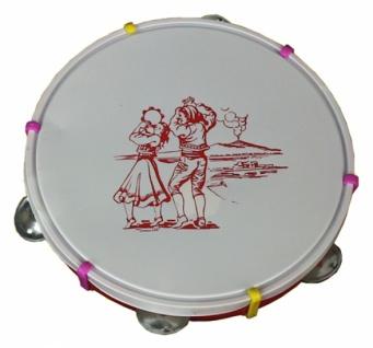 26151 Trommel Tamburin aus Plastik mit Blechtellern, ca. 22 cm