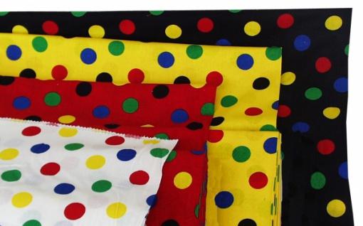 14730 Baumwollstoff mit bunten Punkten, 140cm breit, in schwarz, wei