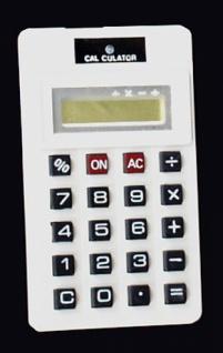 8552 Spritz Taschenrechner in weiß, 9x5x1, 8cm groß, spritzt beim d