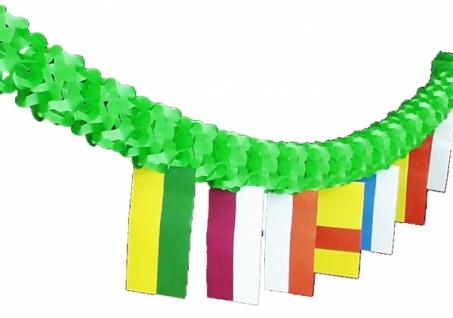7237 Netz Girlande, 4 m lang, 14 cm Ø, grün mit bunten F