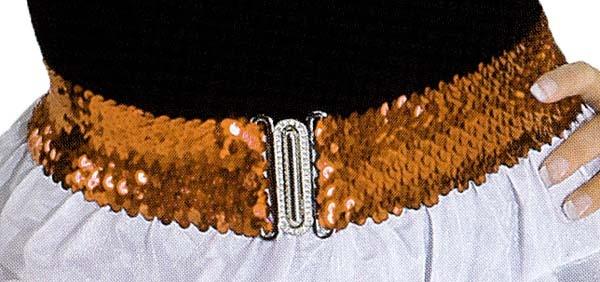 1160 Stretch Pailettengürtel mit Schnalle, 6cm breit, 53cm taillenumfang, in gold, silber, schwa