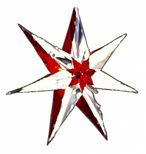 7104 Stern aus PVC, ca. 35cm Durchmesser, zweifarbig: silber mit: ro