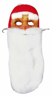 8110 Nikolausmaske aus Plastik, mit weißem, langem Wattebart, Haarkr