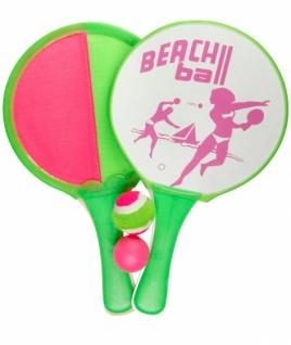 strandball-Set und Fangspiel 2-in-1 grün/rosa