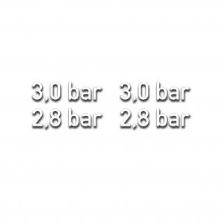 3, 0 und 2, 8 bar Reifendruck Aufkleber 1cm hoch weiß Off-road #A5410