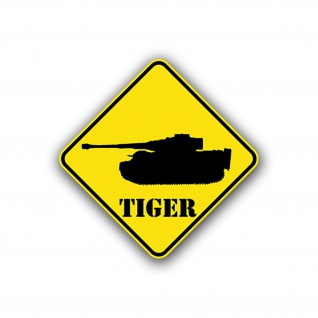 Aufkleber/Sticker Tiger Achtung Panzer Wappen Schild Division 10x10cm A737