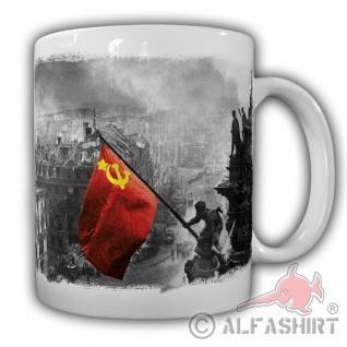 Tasse Kaffebecher Soldaten Friedensfahne Fahne Sowetunion Deutschland#20967