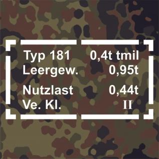 Sticker Aufkleber Typ 181 Daten passend für VW Kübel Wagen Kfz 33x17cm #A075