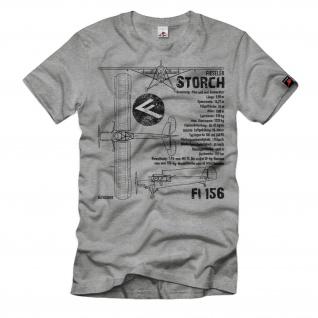 Fieseler Storch Daten Fi156 Flugzeug Luftwaffe Oldtimer Fan T-Shirt#32298